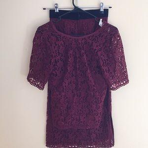NWOT H&M Maroon Lace Set